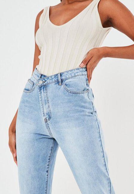 Missguided - Blue Light Blue Highwaisted Asymmetric Fasten Jeans