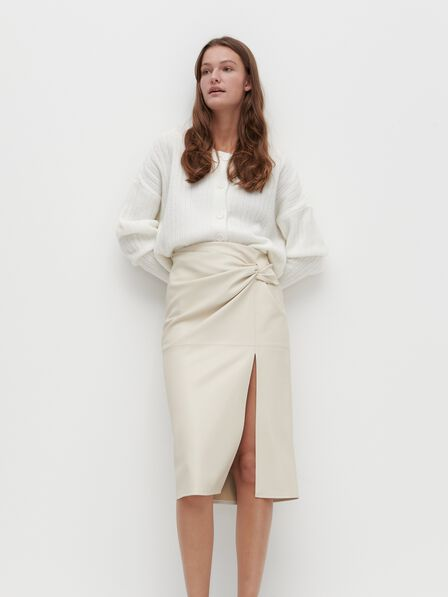 Reserved - Button down cropped jumper - Ivory