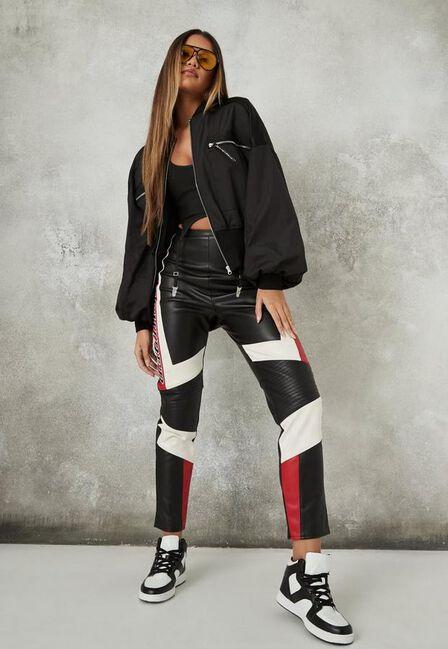 Missguided - Black Satin Oversized Bomber Jacket