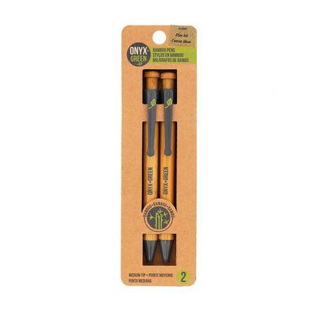ONYX + GREEN - Onyx & Green Ball Pens Blue Made From Bamboo and Corn Plastic [Pack of 2]