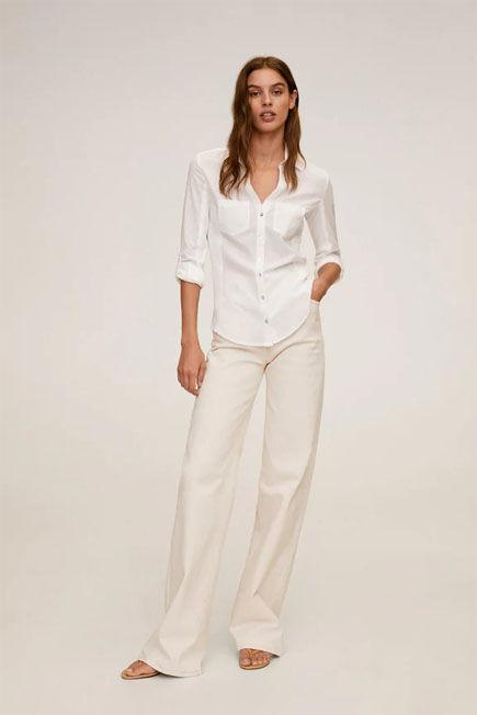 Mango - White Slim Fit Cotton Shirt