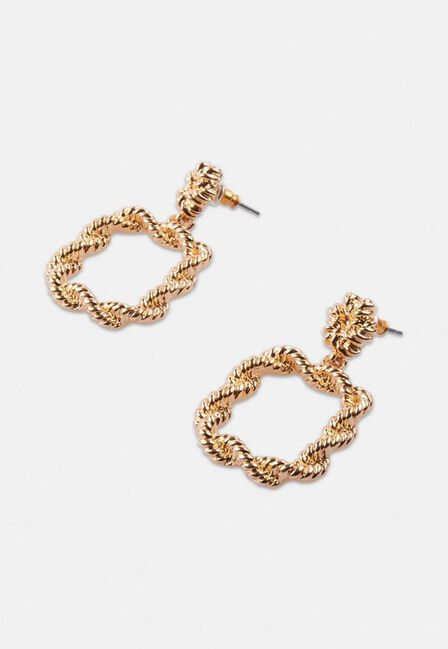 Missguided - Gold Gold Look Rope Small Doorknocker Earrings