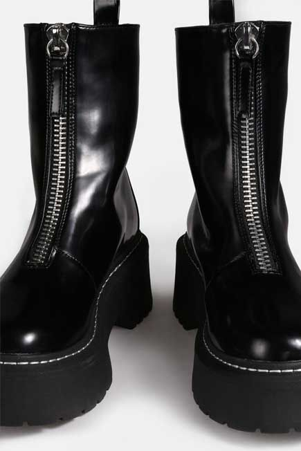 Missguided - Black Zip Up Stitch Detail Chunky Ankle Boots