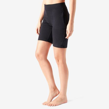 DOMYOS - Medium  Cotton Fitness Shorts Fit+ Straight Cut - Black, Black