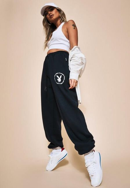 Missguided - Navy Playboy X Missguided Varsity Pin Tuck Joggers