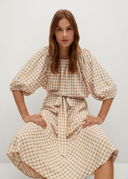 Mango - light beige Ruffled checked skirt