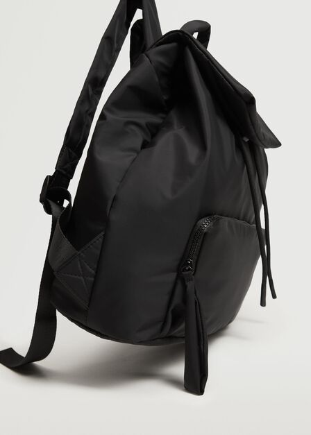 Mango - Black Quilted Backpack, Women