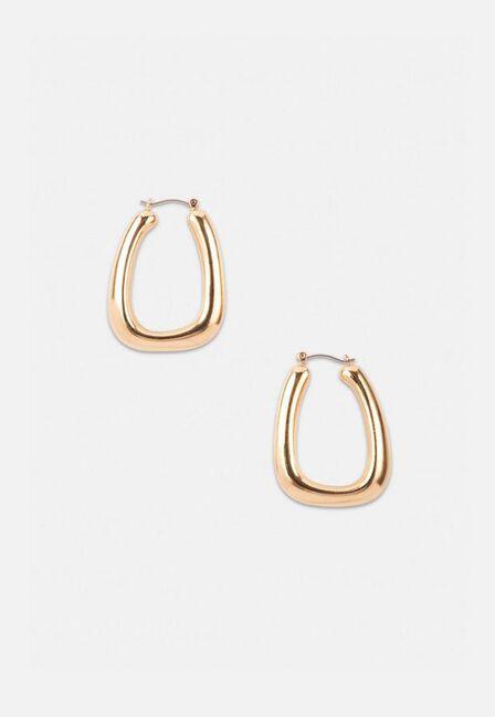 Missguided - Gold Look Triangle Tube Hoop Earrings, Women