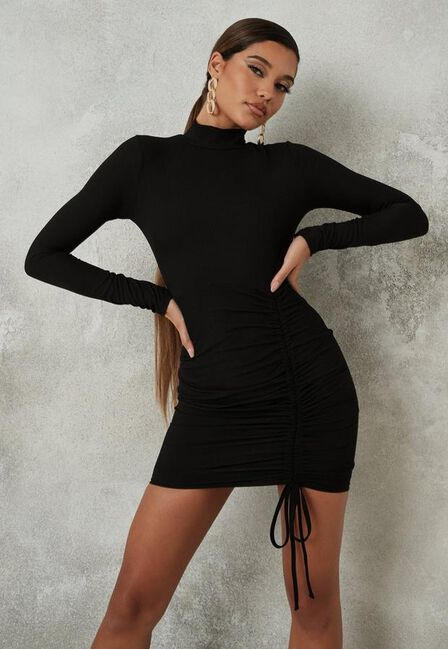 Missguided - Black Rib High Neck Ruched Front Mini Dress