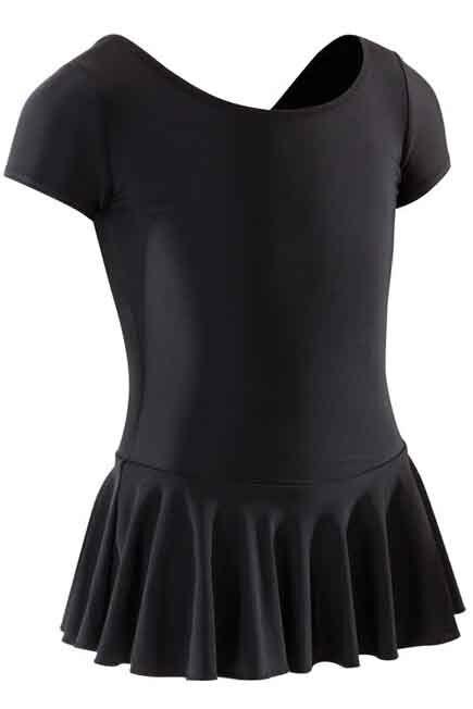 DOMYOS - Girls' Ballet Skirted Leotard - Black