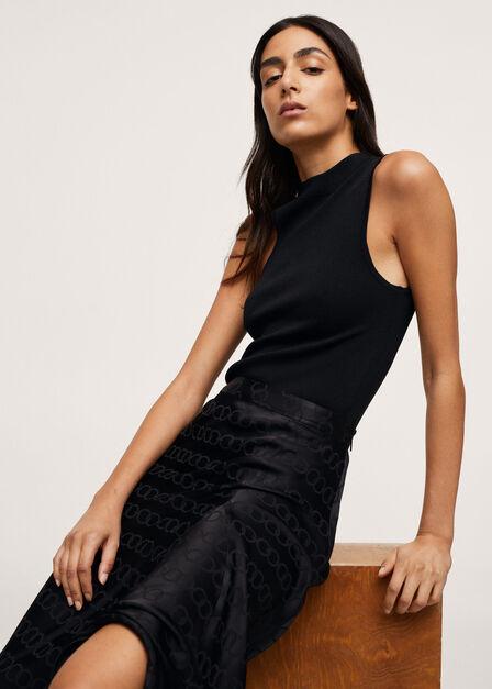 Mango - black Midi satin skirt, Women