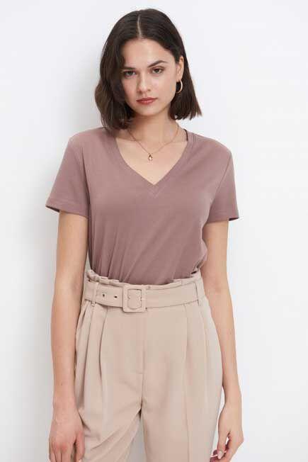 Mohito -  Plain Basic T-Shirt Eco Aware - Brown