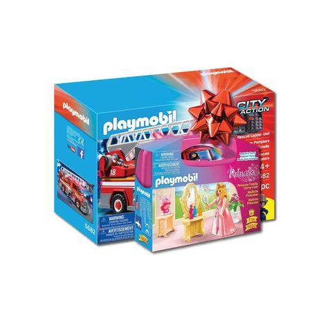PLAYMOBIL - Playmobil Rescue Ladder Unit Playset + Playmobil Princess Vanity Carry Case [Bundle]