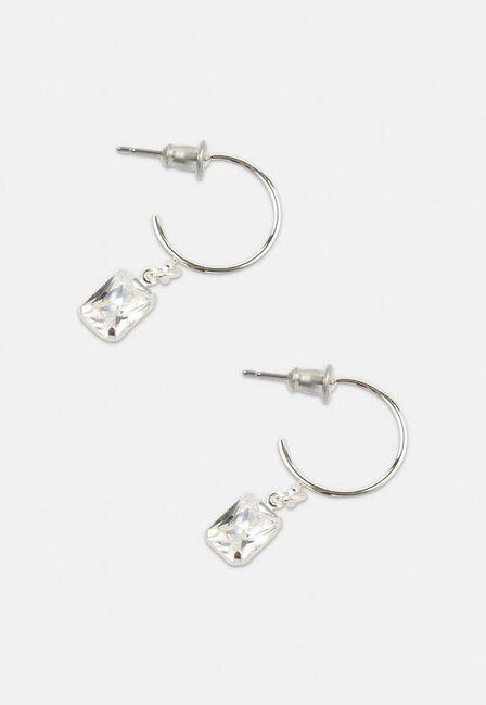 Missguided - Silver Look Square Hoop Gift Earrings, Women