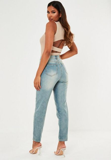 Missguided - Blue Highwaisted Mom Jeans