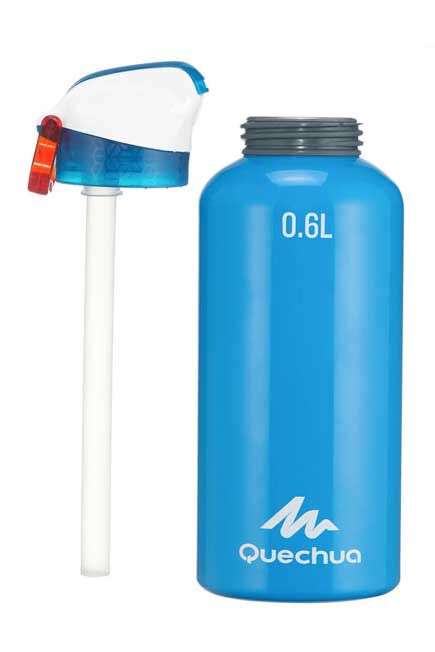 QUECHUA - Flask 900 Alum. water bottle | Instant opening with straw - 0.6L -blue , Unique Size