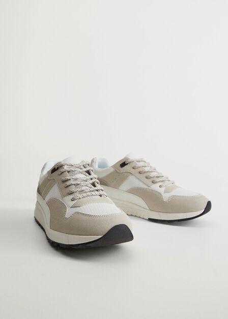 Mango - White Leather Maxi Trainers