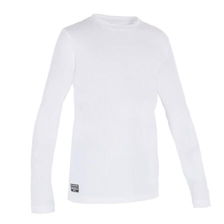 TRIBORD - 8-9Y  Kids' Long Sleeve UV Protection Surfing Water T-Shirt, Snow White