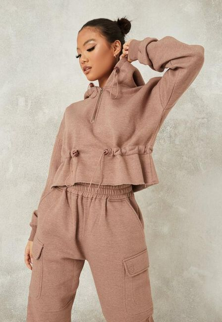 Missguided - Brown Mocha Co Ord Ruched Detail Toggle Hoodie
