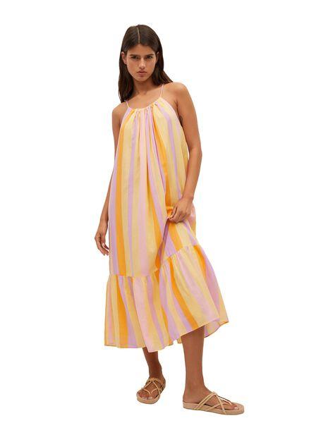 Mango - Yellow Ruffle Printed Dress, Women