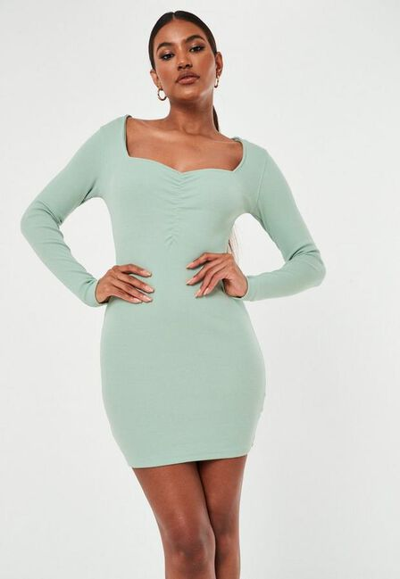 Missguided - Green Sage Ribbed Ruched Bust Mini Dress