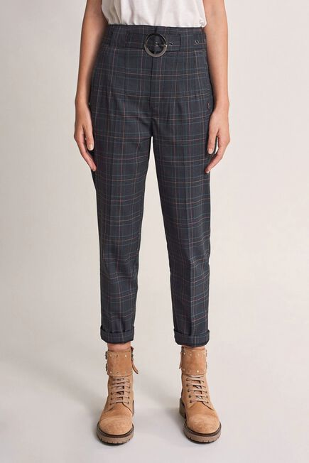 Salsa Jeans - Green High-waisted checked trousers