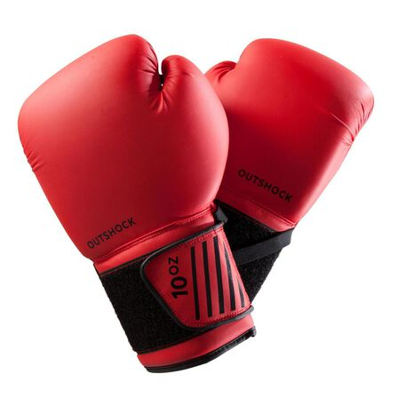 OUTSHOCK - 10 Oz  Beginner Boxing Gloves 100 - Red, Cherry Red