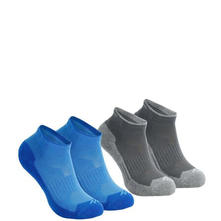 QUECHUA - EU 31-34  Kids' Mid-height Hiking Socks MH100 2-pack /., Blue Azure