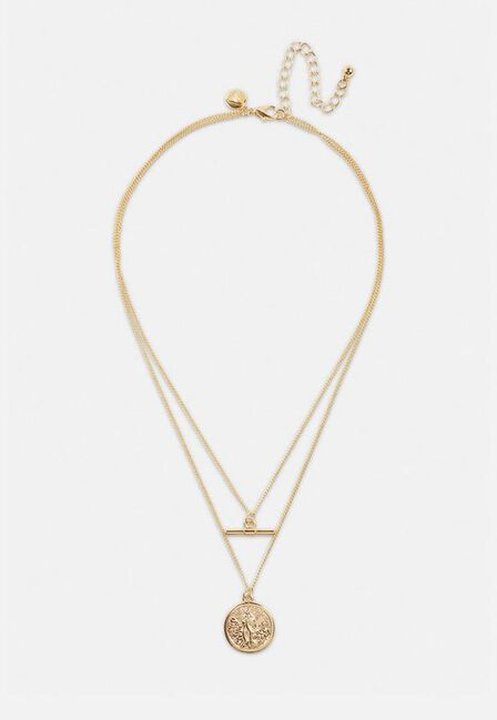 Missguided - Gold Gold Look T Bar 2 Row Coin Pendant Necklace