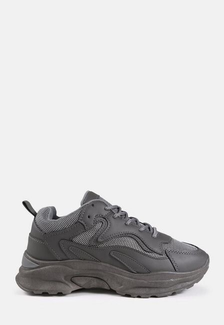 Missguided - Grey Mesh Panel Chunky Trainers