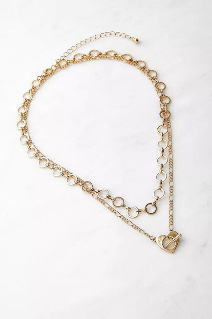 Urban Outfitters - Gold-Tone Heart T-Bar Layered Necklace