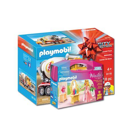 PLAYMOBIL - Playmobil Cement Truck Playset + Playmobil Princess Vanity Carry Case [Bundle]