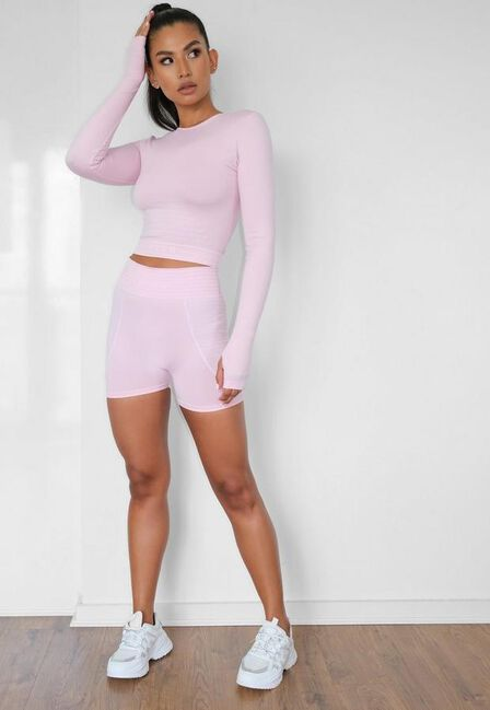 Missguided - Pink Seamless Missguided Booty Gym Shorts