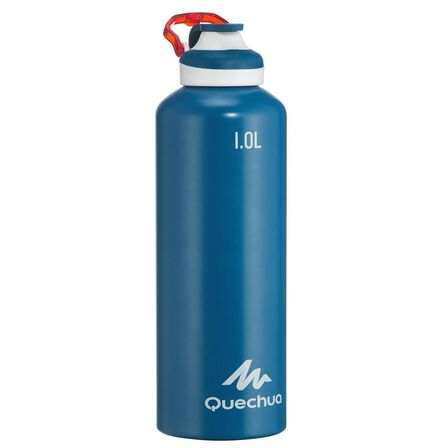 QUECHUA - Unique Size  500 Quick-Opening Aluminium 1.L Hiking Flask, Dark Blue
