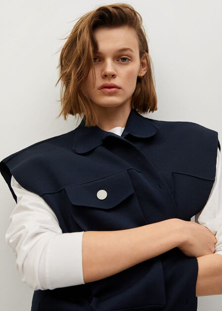 Mango - navy Button vest