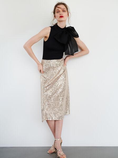Reserved - Golden Sequin Skirt, Women