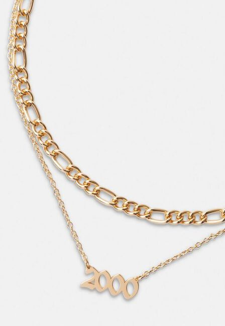 Missguided - Gold Gold Look 2000 Gothic Year Necklaces 2 Pack