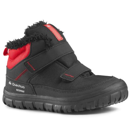 QUECHUA - EU 32  KIDS' WARM & WATERPROOF RIP-TAB HIKING BOOTS SIZE 7-13 - SH100 WARM, Black