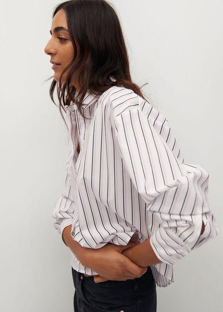 Mango - white Cropped cotton shirt