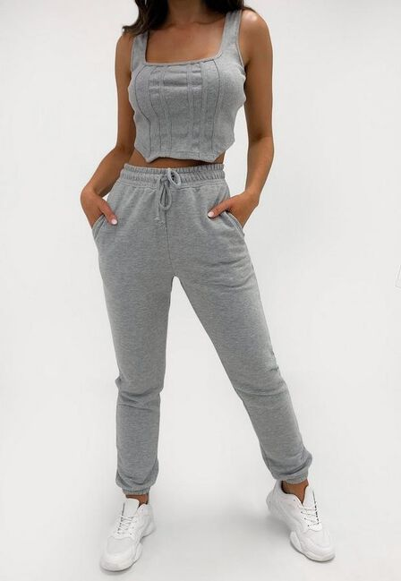 Missguided - Grey Rib Corset Crop Top And Joggers Co Ord Set