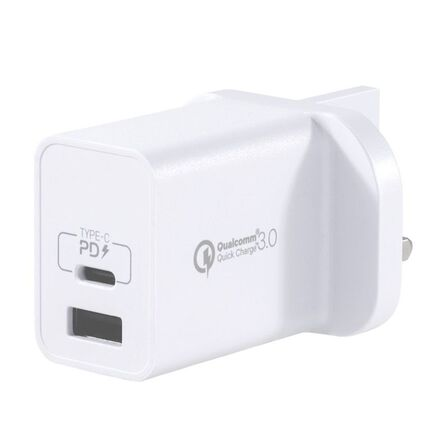 MOMAX - Momax One Plug 2-Ports USB Fast Charger White Type-C PD+ QC 3.0 USB