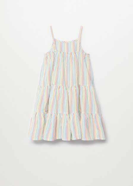 Mango - natural white Striped cotton-blend dress