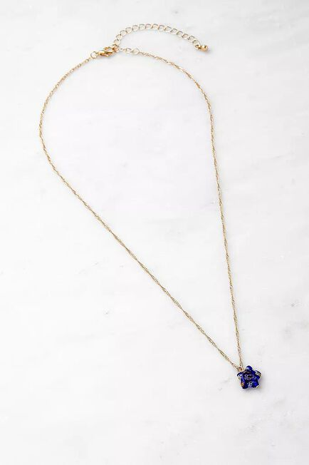 Urban Outfitters - Blue Gold-Tone Chain And Resin Star Necklace, Women