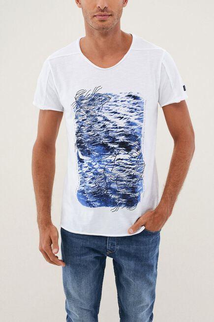 Salsa Jeans - White Graphic Round Neck T-Shirt