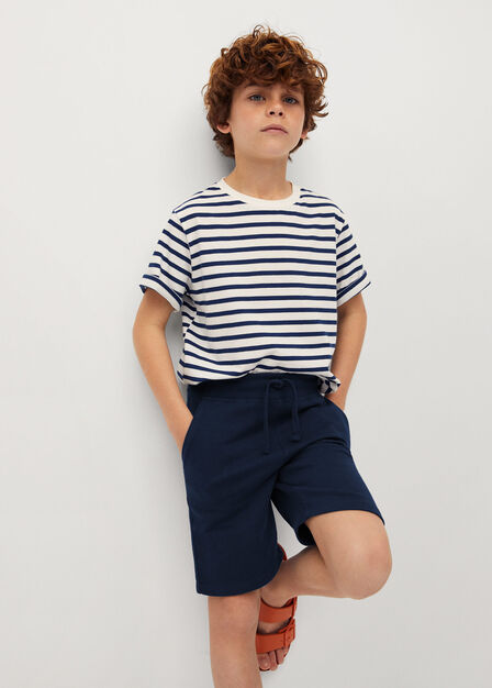 Mango - navy Organic cotton jogging Bermuda shorts