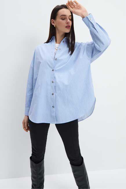 Mohito -  Oversized Cotton Shirt - Blue