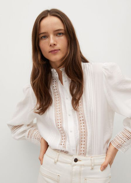 Mango - natural white Openwork detail blouse