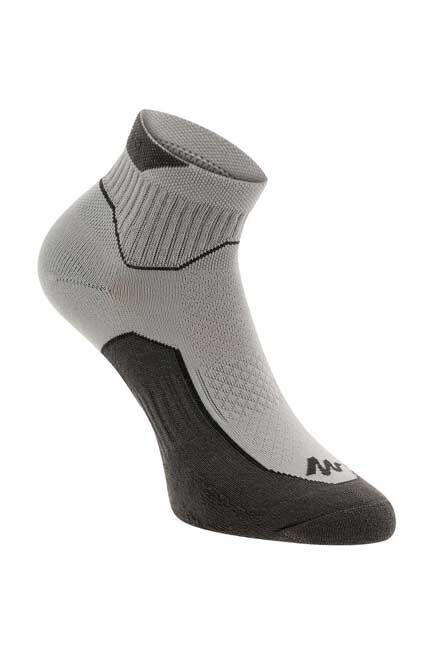 QUECHUA - Nh500 mid country walking socks - grey x 2 pairs, EU 39-42