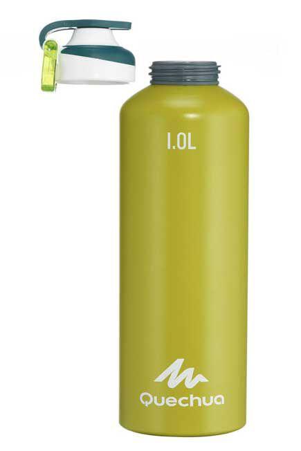 QUECHUA - Unique Size  500 Quick-Opening Aluminium 1.L Hiking Flask, Lime Green