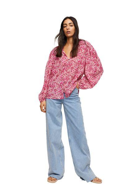 Mango - pink Printed cotton blouse, Women